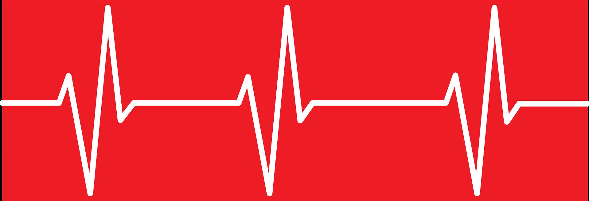 rythme cardiaque sur un fond rouge